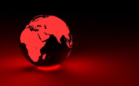 glowing earth: 3d red glowing earth globe