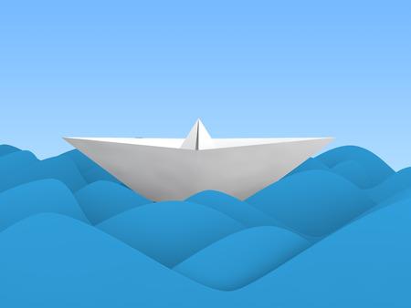 3d boat: 3D paper boat in waves