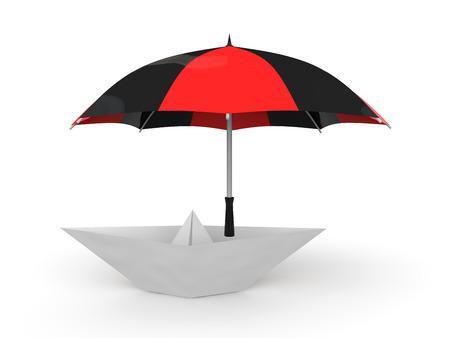 3d boat: 3d paper boat under umbrella