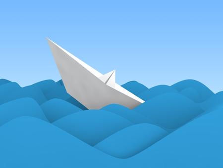 sinking: 3d paper boat sinking in ocean wave