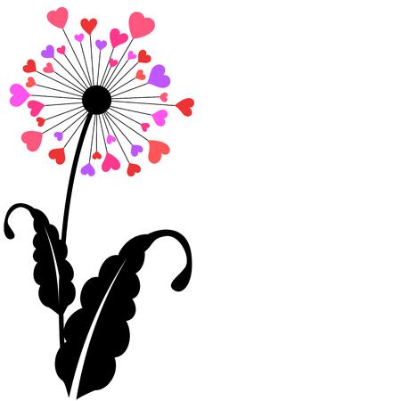 dandelion flower: Heart petals dandelion flower