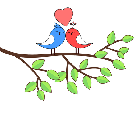 cute birds: Love birds on a birch illustration