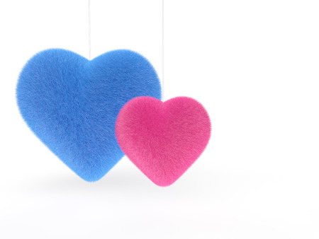 fluffy: 3d pink and Blue fluffy hearts
