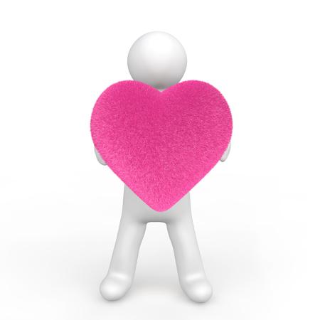 fluffy: 3d man holding a fluffy heart shape