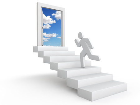 heaven: 3d man running on stairs Stock Photo