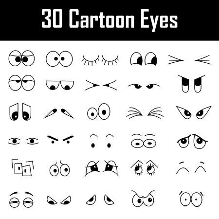 ojos tristes: Conjunto de ojos de la historieta Foto de archivo