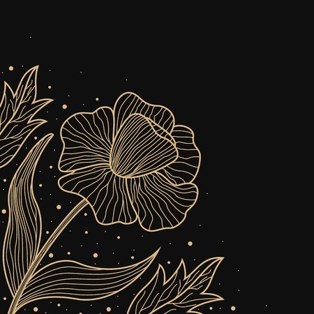 design abstract: Gold lines flower design on black