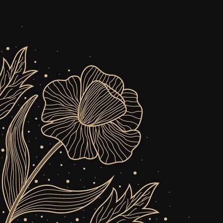 corners: Gold lines flower design on black