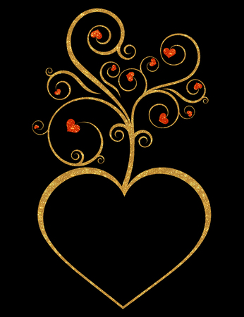 gold heart: Gold heart flourish design