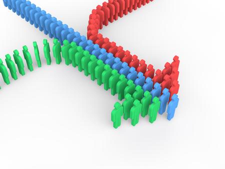 arranged: 3d people arranged to form an arrow