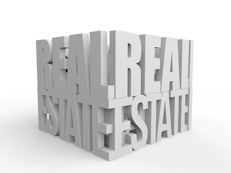 real: 3d real estate text Stock Photo
