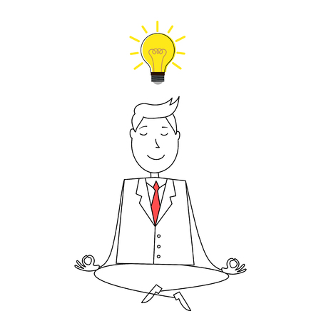 man meditating: Cartoon happy man meditating