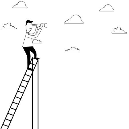 spyglass: Cartoon man on a ladder with spyglass Stock Photo