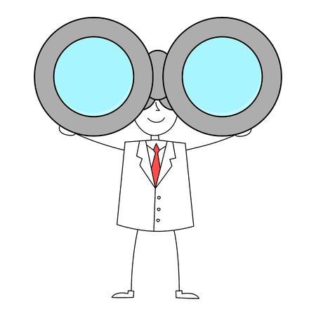 watcher: Cartoon man in suit with binoculars