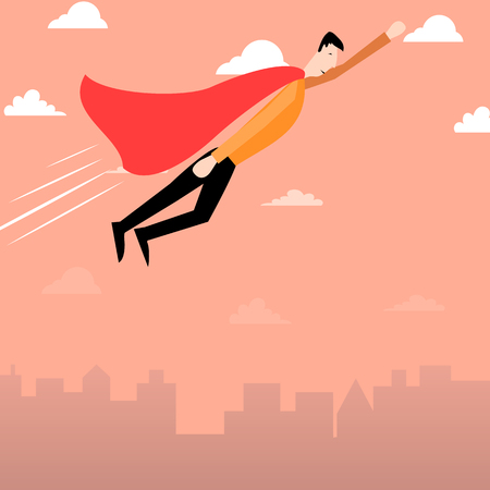 flying man: Cartoon man with red cape flying Stock Photo