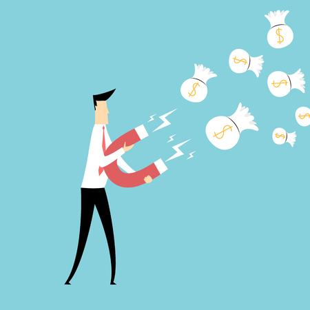magnetize: Businessman attracting money