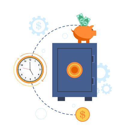 time account: Safe deposit box with money