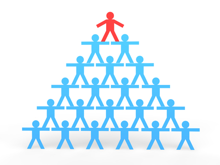 human pyramid: 3d stick men making a human pyramid Stock Photo