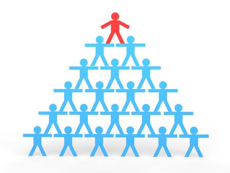 human pyramid: hombres de palo 3D hacer una pirámide humana Foto de archivo