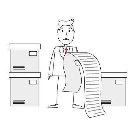 worried: Cartoon man worried of huge bill Stock Photo