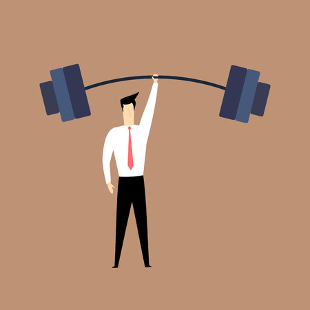 man lifting weights: Strong man in suit lifting weights with one hand