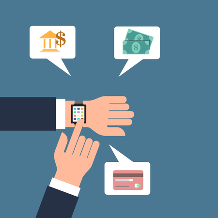 banking concept: Smart watch banking concept Stock Photo