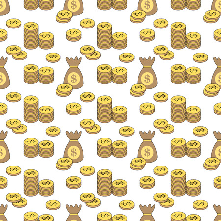 money bags: Coins and money bags pattern
