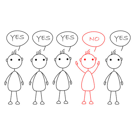 one person: Cartoon stick figures saying yes with one person saying no