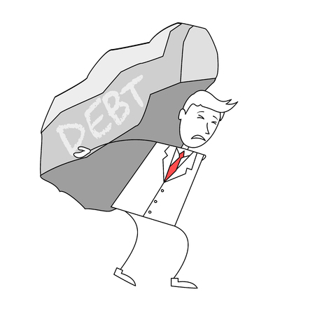 labelled: Cartoon man in suit carrying a rock labelled debt