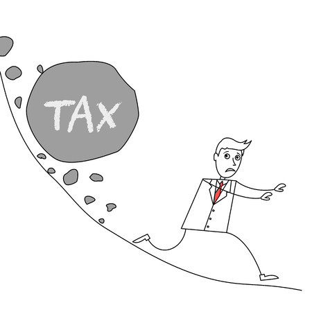 steep by steep: Cartoon businessman escaping from landslide with huge rock labelled as tax