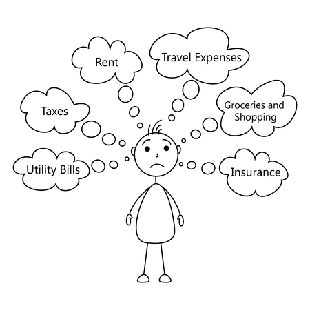 Cartoon Stick Man Worried Of Expenses Stock Photo Picture And