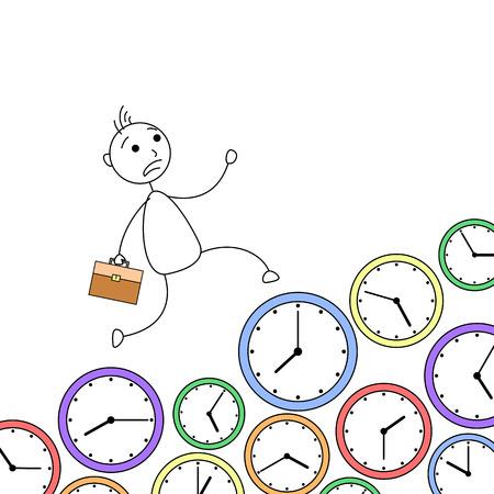 rushing: Cartoon stick man running over clocks in hurry Stock Photo