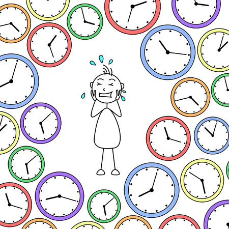 surrounded: Cartoon stressed stick man surrounded by clocks Stock Photo