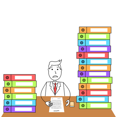 workload: Illustration of cartoon man in suit worried to workload