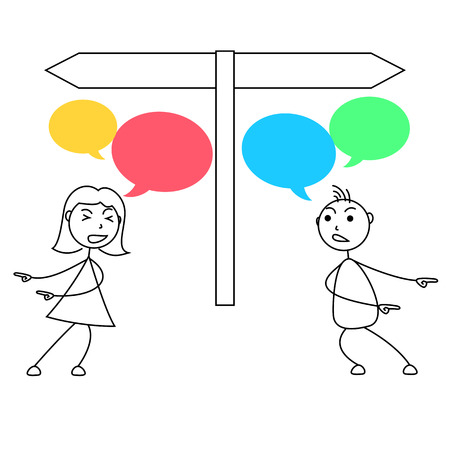 forcing: Cartoon stick figures conflict between man and woman Stock Photo
