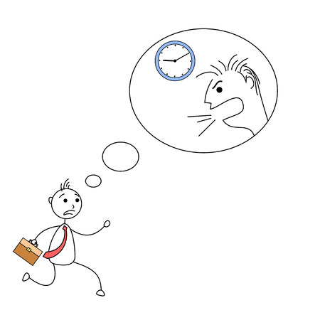 getting late: Cartoon stick figure getting late thinking about angry boss