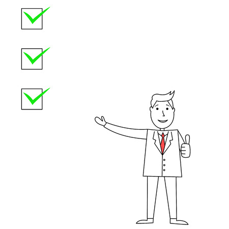 verifying: Cartoon businessman pointing and explaining with check boxes and thumbs up Stock Photo