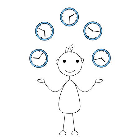 success control: Cartoon stick figure juggling clocks. Time management concept Stock Photo