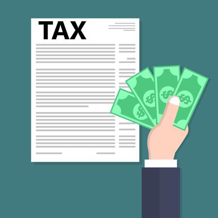 impuestos: Mano que sostiene el dinero en efectivo y el pago de impuestos. ilustración de estilo plano.