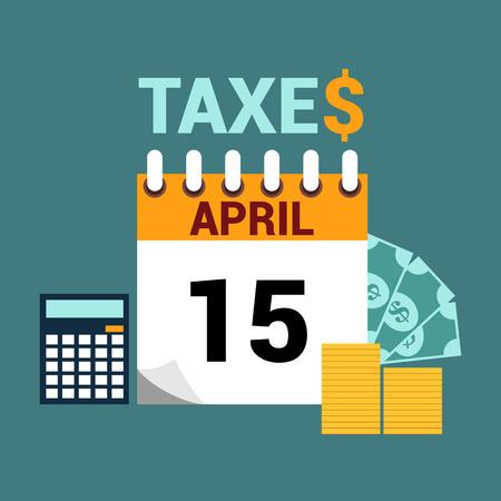 taxes: Tax day flat style illustration design