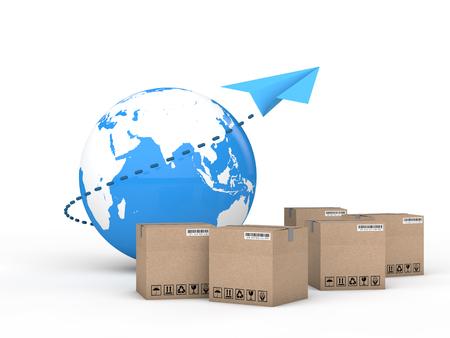cartons: 3d Earth globe and cartons