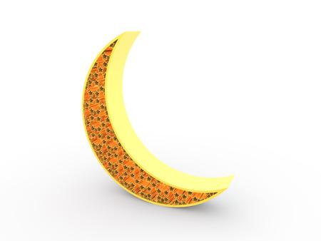crescent: 3d render of gold crescent