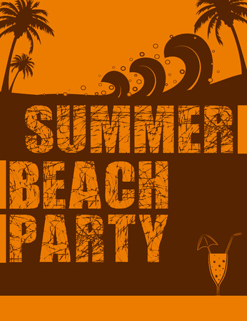 beach party: Vintage style summer beach party poster design