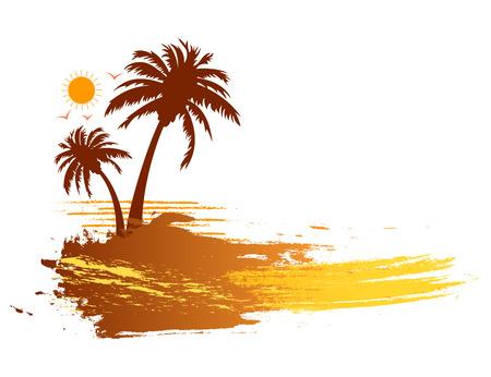 grunge banner: Grunge summer tropical palm trees banner design