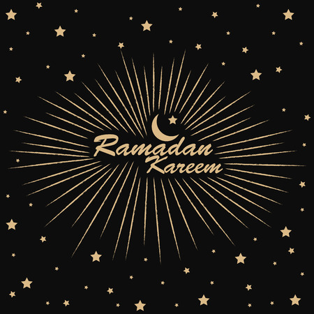 religious celebration: Gold Ramadan Kareem retro design