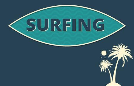 clima tropical: El clima tropical dise�o del cartel de surf Foto de archivo
