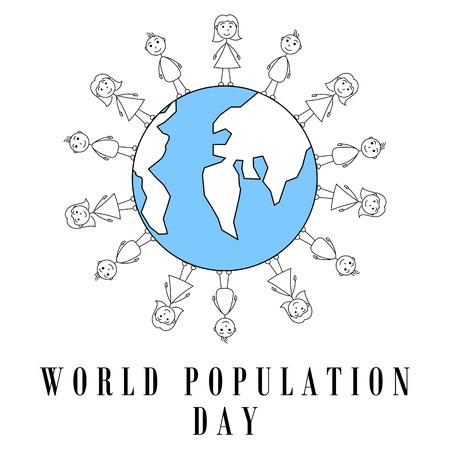 surrounding: Stick figures surrounding earth globe. World population day design