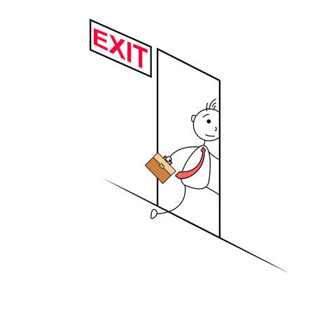 exiting: Cartoon man exiting through a door