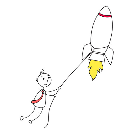 catching: Cartoon stick man catching a rocket with lasso Stock Photo