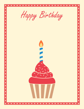 Cupcake Birthday Greeting Card Design Stock Photo Picture And